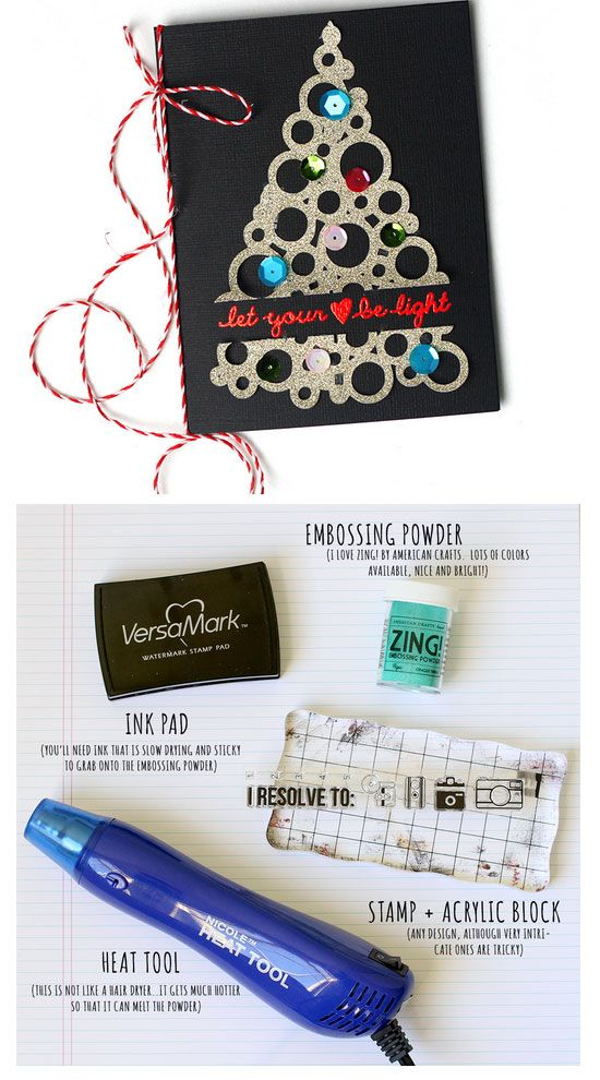Ideas To Make A Christmas Card Part - 47: Embossed 5 Star Christmas Card | Click For 20 DIY Christmas Card Ideas For  Families |