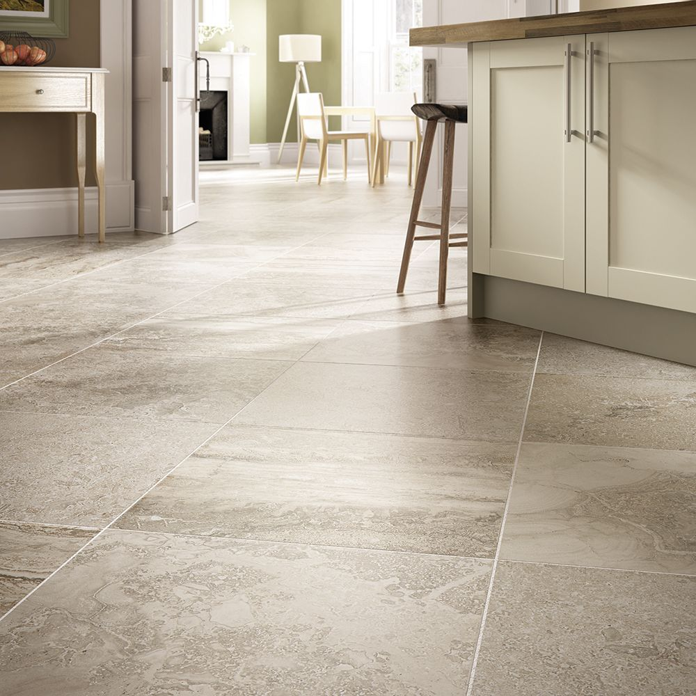This stone look floor tile is great for foyers bathrooms