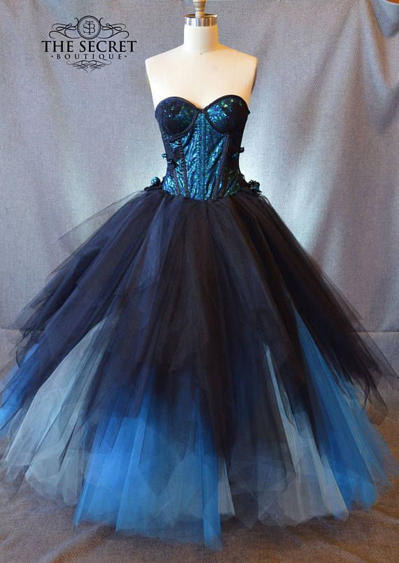 Schöne alternative blaue und schwarze Korsett-Kleid mit Tüllrock ...