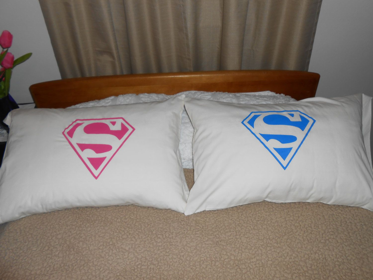 His and Hers Superman Logo, Standard Pillowcases, Bedroom Decor ...
