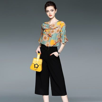 244e0fc8706 2017 Women Clothing Set Summer New European Brand Fashion Design Two-Piece  Silk Floral Print Blouse Wide-Legged Black Pants Suit