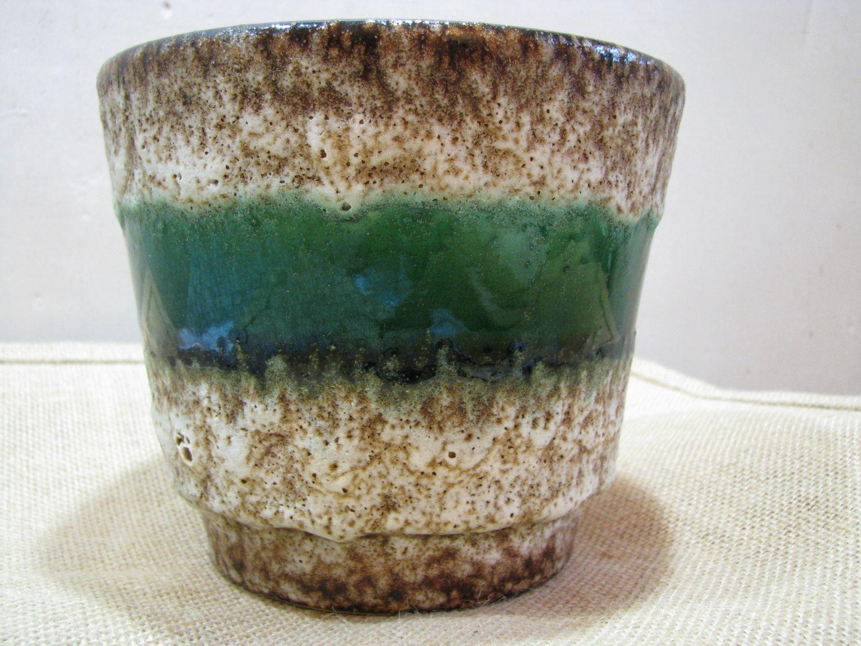 "Fat Lava Planter Jopeko – Green + Thick Crust – 1960s 1970s – Mid Century German Pottery WGP – Op Art – Plant Cache Pot – 5,31"" von everglaze auf Etsy"