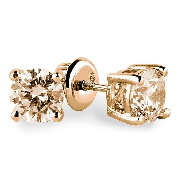 Champagne Diamond Stud Earrings In 14k The Color Of These Stones Are Perfect I