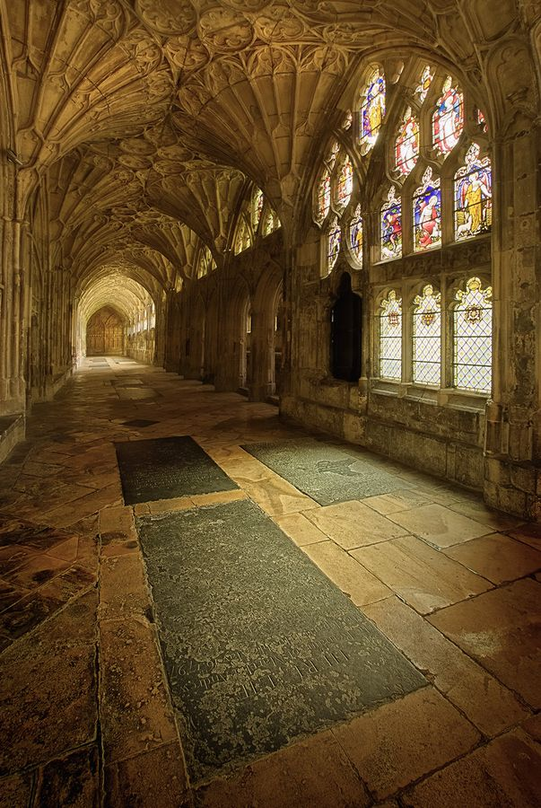 Gloucester Cathedral, Great Britain. In the cloisters Tudor heraldic glass offers an interesting insight into the Reformation.