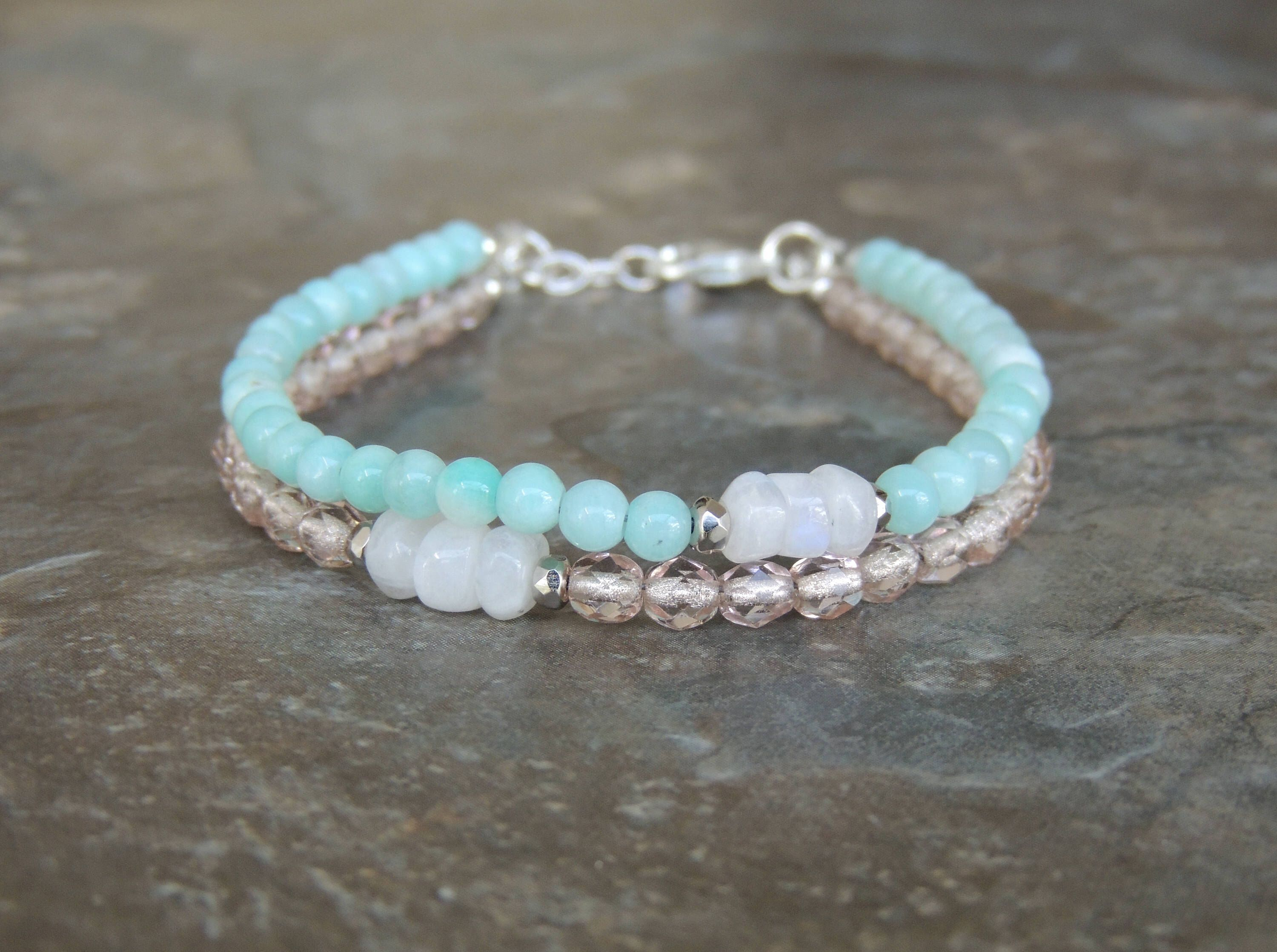 bracelet double light amazonite for blue pin wrap gemstone her beaded