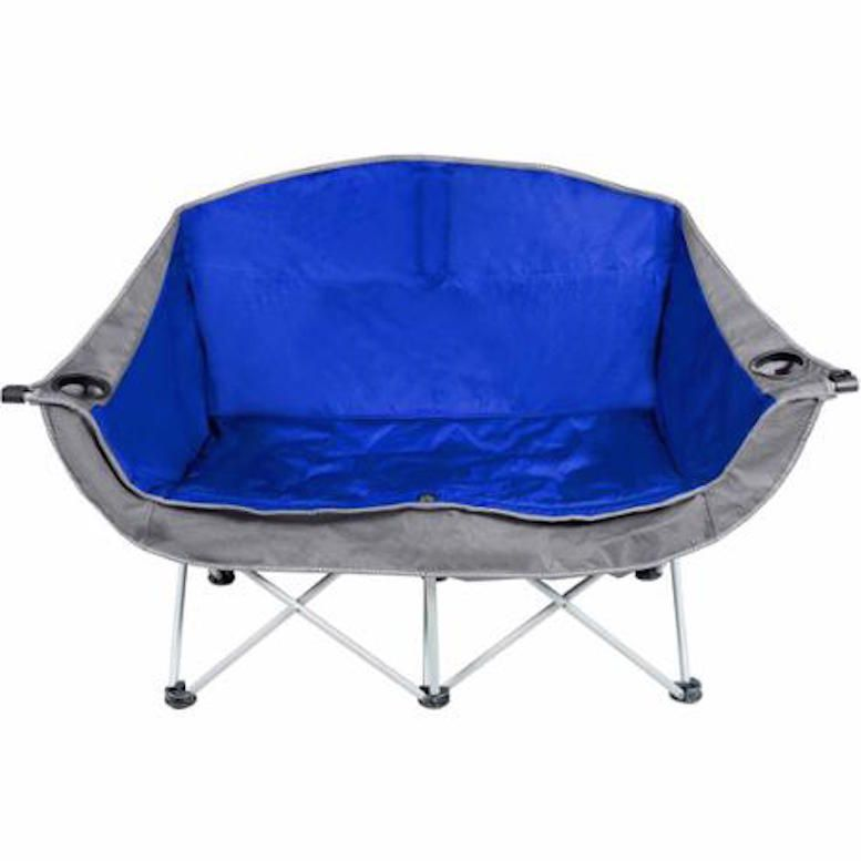 Exceptionnel Camping Chair For 2 Couples Folding Cupholders Padded Seats Carrying Bag  Steel #OT