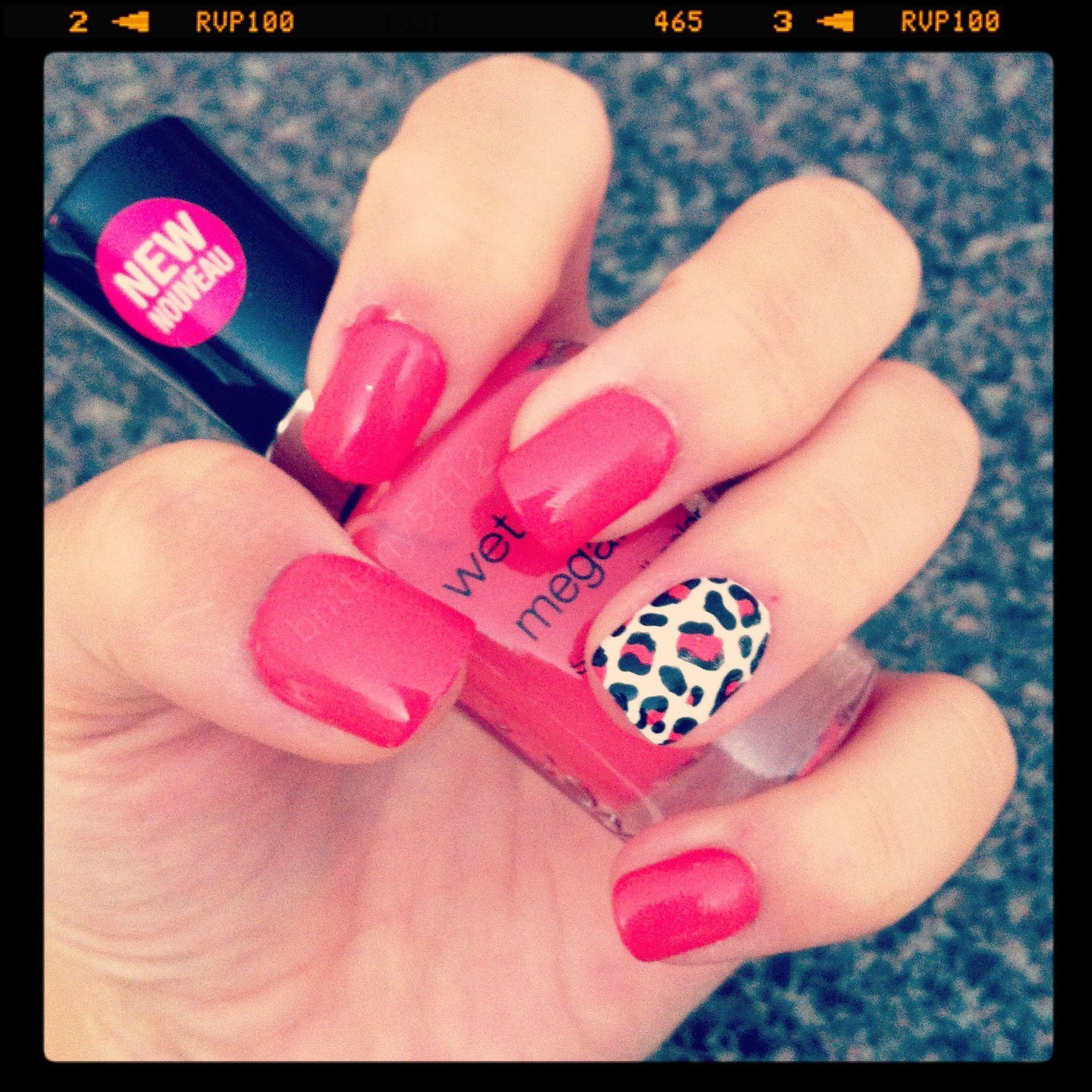 Pink Or Red Cheetah Design Nails Nails Pinterest Pink