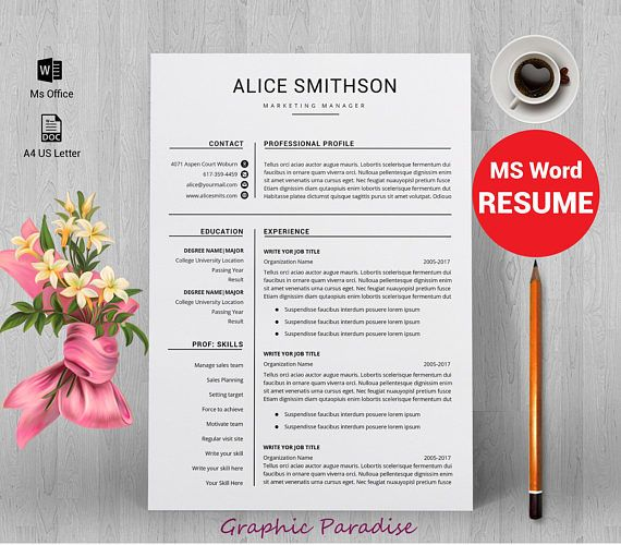 Resume Template Professional Resume Template Instant Download 3
