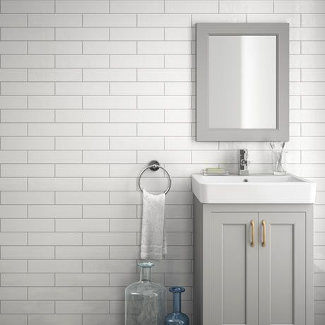 Mileto Brick White Gloss Ceramic Wall Tile 75 X 300mm Pack Of 25 Bathroom Wall Tile Modern Bathroom Design Brick Tiles Bathroom