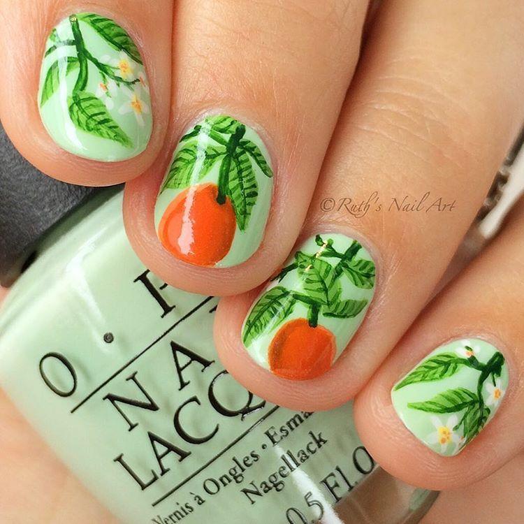 Oranges and blossoms #ruthsnailart #nailart   Nail Art Community ...