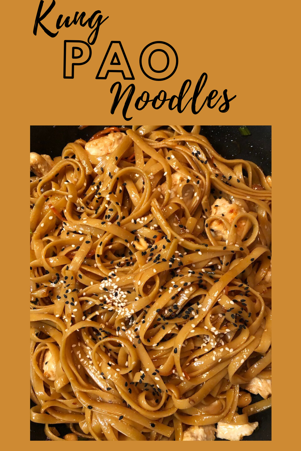 The most time-consuming part of this dish is boiling the noodles! You can make the sauce within five minutes or less. The recipe is flexible to add your own favorite veggies!   #fwmd #kungpaonoodles #kungpaochicken #noodledishes #asiannoodles #