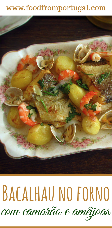Bacalhau no forno com camarão e amêijoas | Rezept