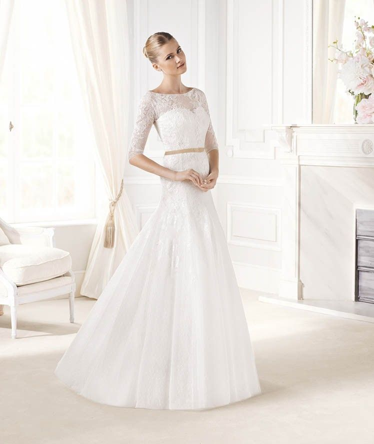 Boat neck wedding dress lace google search wedding for Wedding dresses downtown la