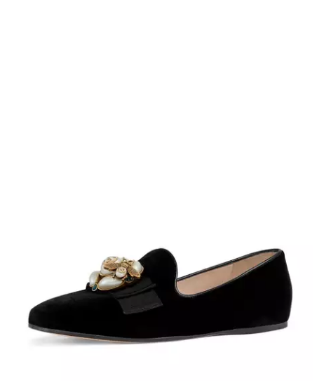 3b0ff6b1c56 Gucci Etoile Flat Velvet Smoking Slipper with Bee Brooch. Gucci Loafers.  Women s Designer Shoes. Most Comfortable shoes.  gucci  shoes