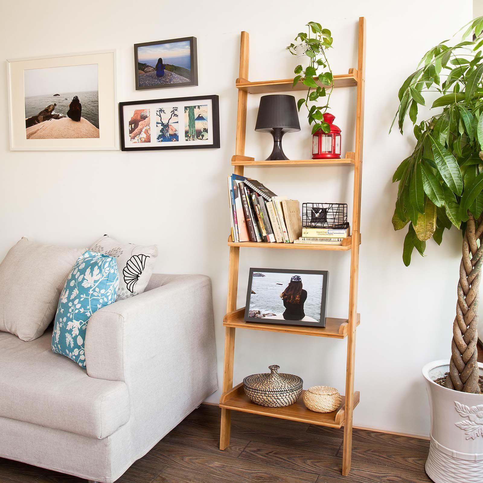 sobuy bambusregal wandregal badregal leiterregal standregal b cherregal frg17 b n amazon. Black Bedroom Furniture Sets. Home Design Ideas