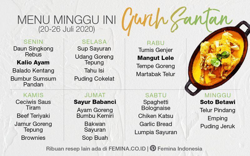 Menu Mingguan Gurih Santan Ide Makanan Makanan Masakan Indonesia