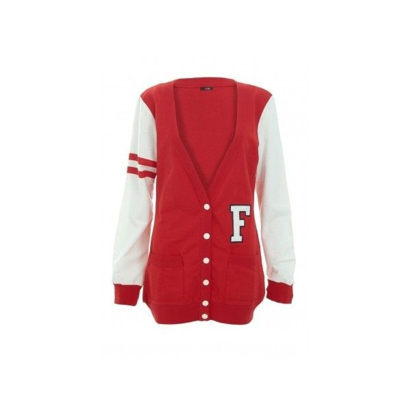 Red and Cream Varsity Cardigan from Quiz Clothing ($25) ❤ liked on Polyvore featuring tops, cardigans, jackets, outerwear, sweaters, cream cardigan, red cardigan, cream top, red top and cardigan top