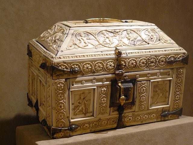 Ivory and Bone Casket with Warriors and Dancers Byzantine 1000-1100 CE probably Constantinople