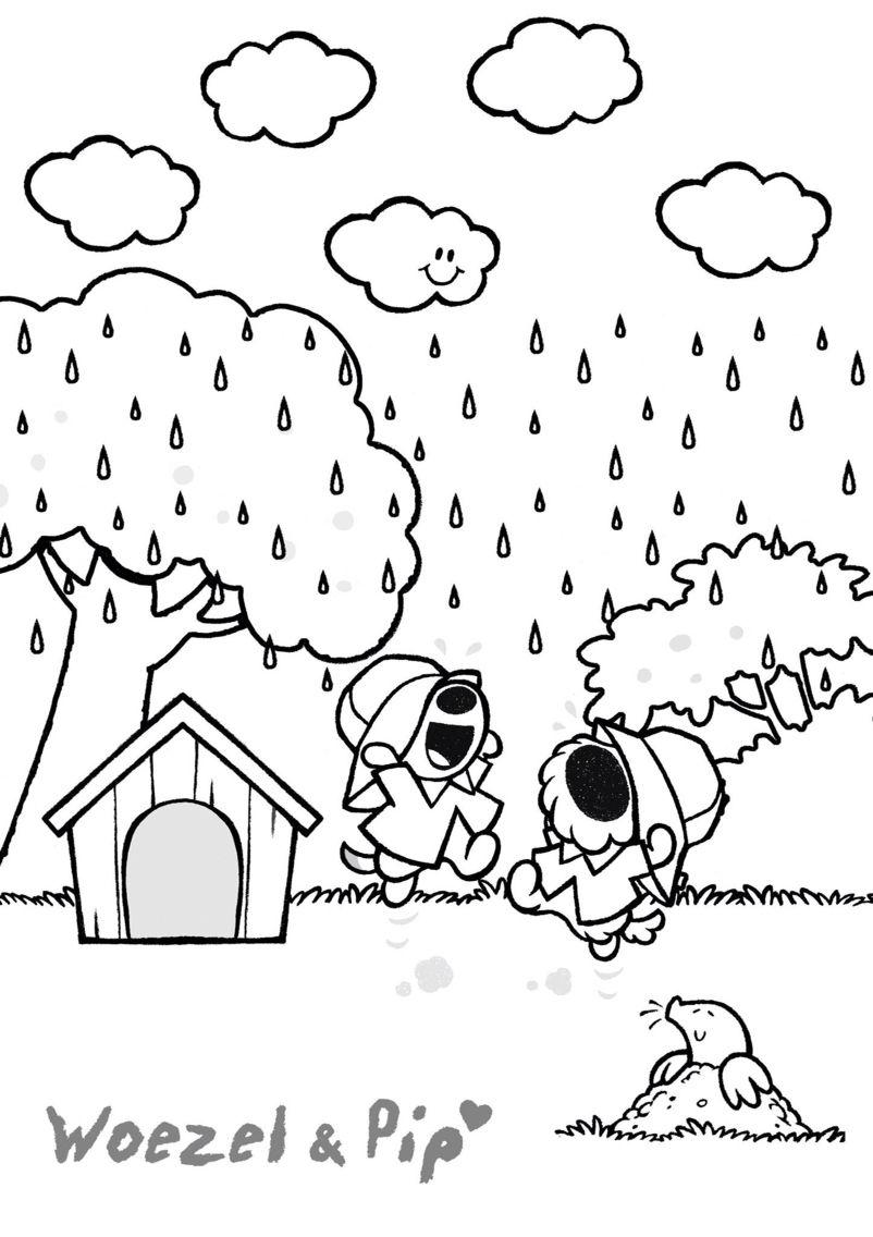 woezel en pip regen kleurplaat regen knutselen