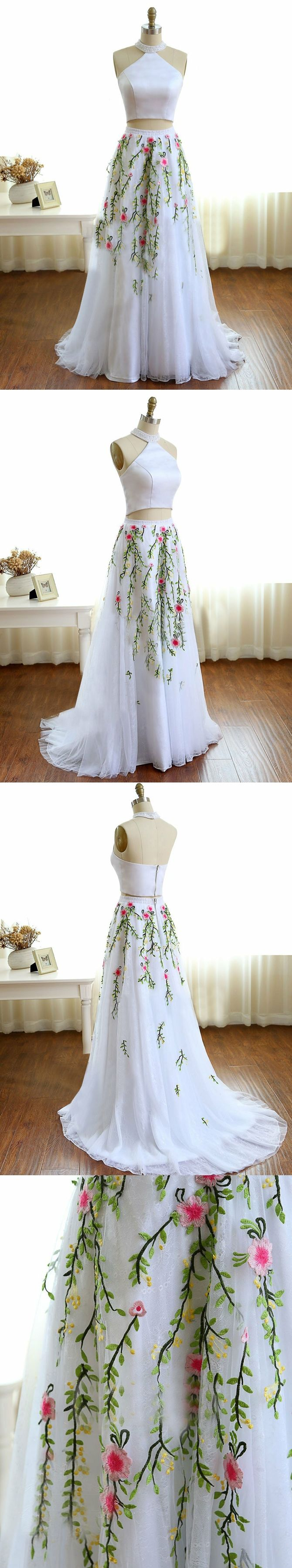 Two piece prom dresses aline high neck lace embroidery white long