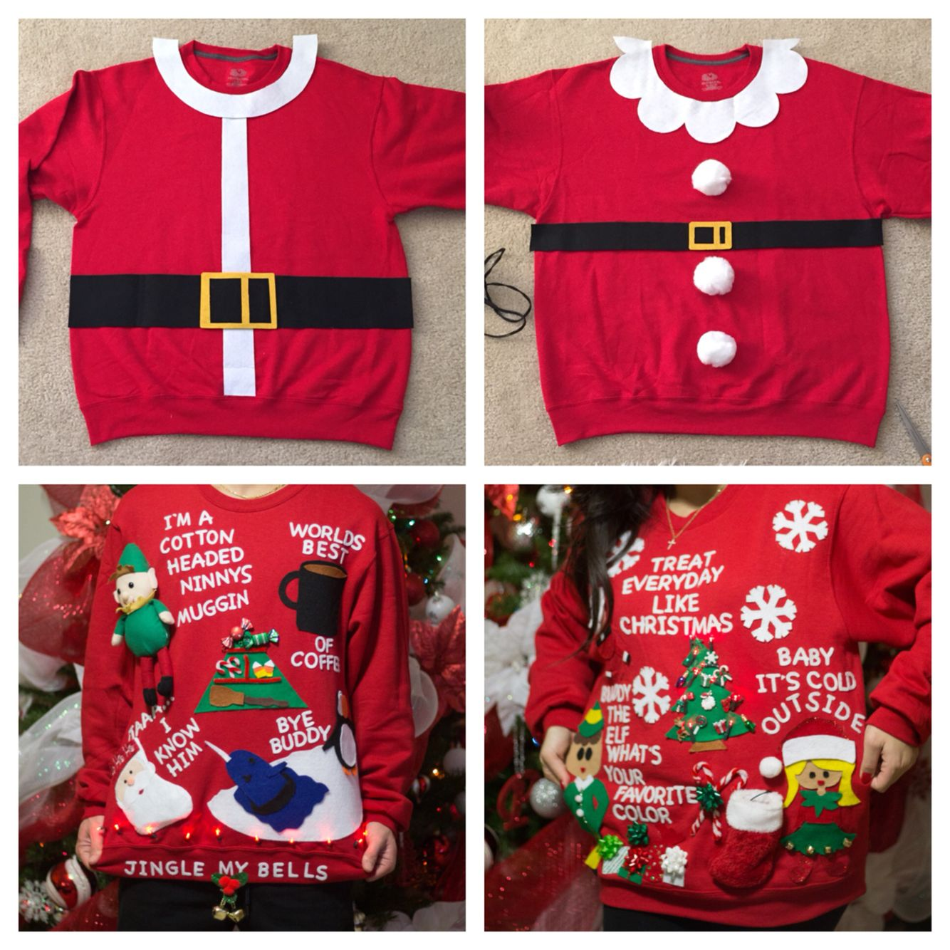 a03e08335ffe DIY Ugly Christmas Sweaters (Santa & Mrs Claus) (Elf Movie Inspired ...