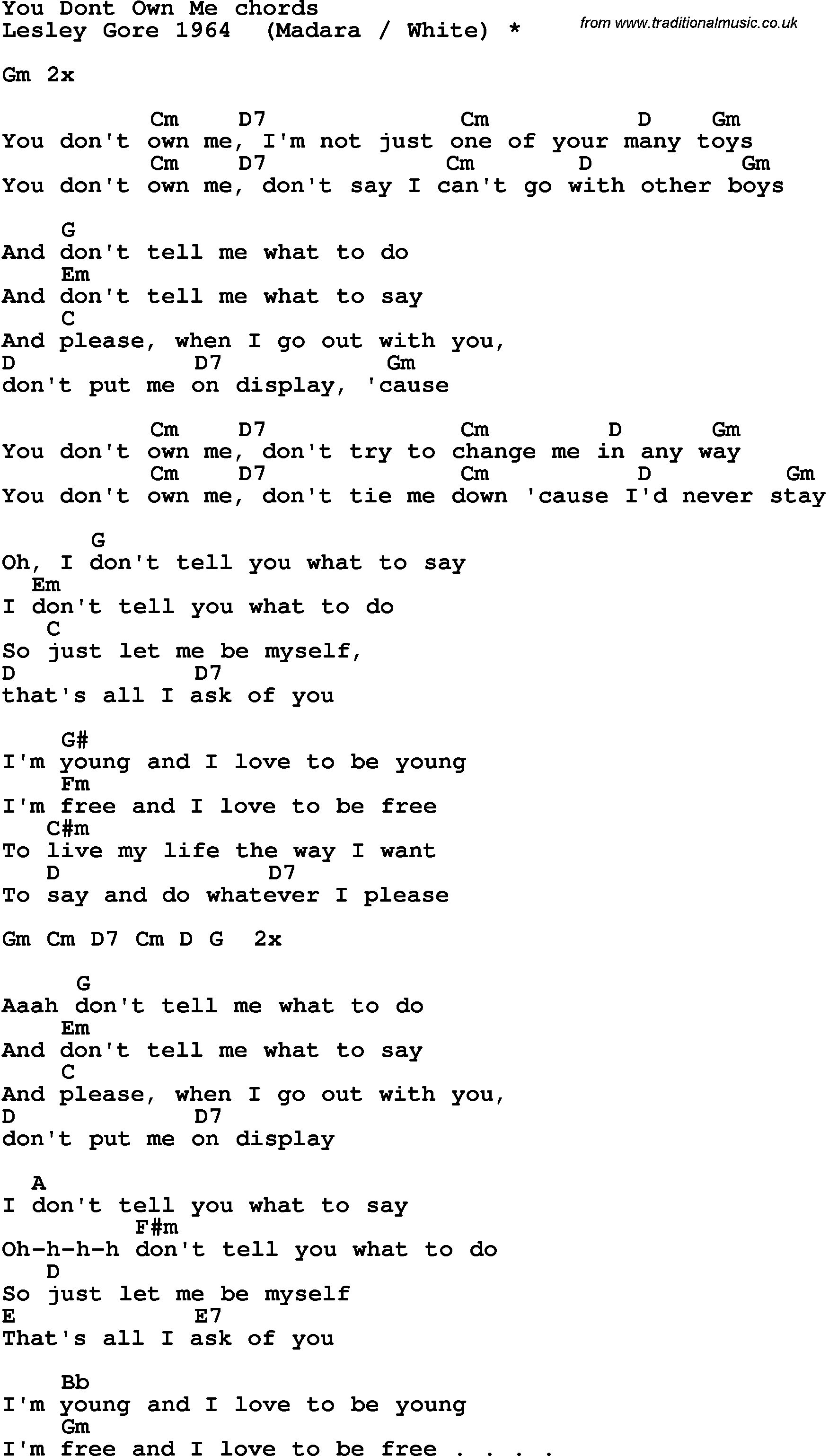 You Dont Own Me Song Lyrics With Guitar Chords For You Dont Own