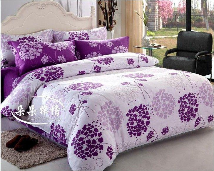 Flower White&Purple 4pcs Bedding Set/ Duvet Cover Bedding