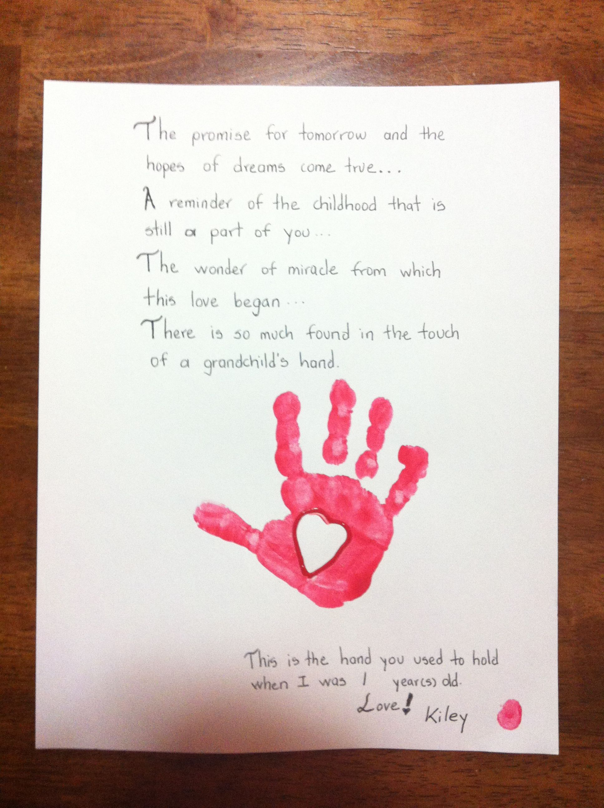 Grandparents Day Art Project Preschool Handprint