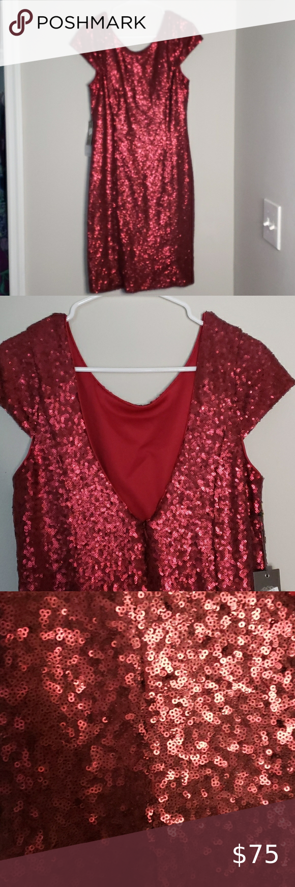 Vince Camuto Sequin Red Dress With V Back Red Dress Vince Camuto Dress Dresses [ 1740 x 580 Pixel ]