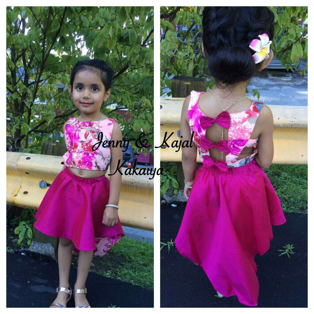 for little girls low and high skirt and crop top