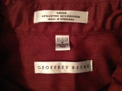 Geoffrey Beene Sateen Wrinkle Free Dress Shirt Medium 15 1 2 Great for Xmas   eBay