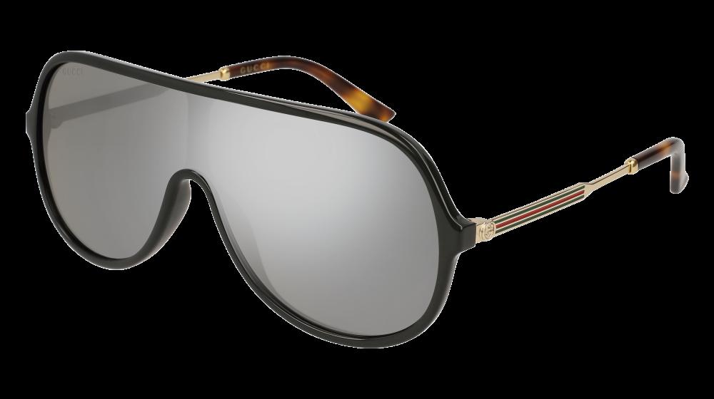 289983484dd Gucci - GG0199S-002 Black Gold Sunglasses   Silver Mirror Lenses ...
