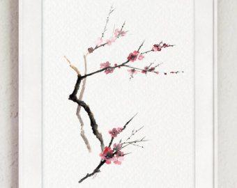 malerei rosa kirschbl ten baum bl hender zweig aquarell. Black Bedroom Furniture Sets. Home Design Ideas