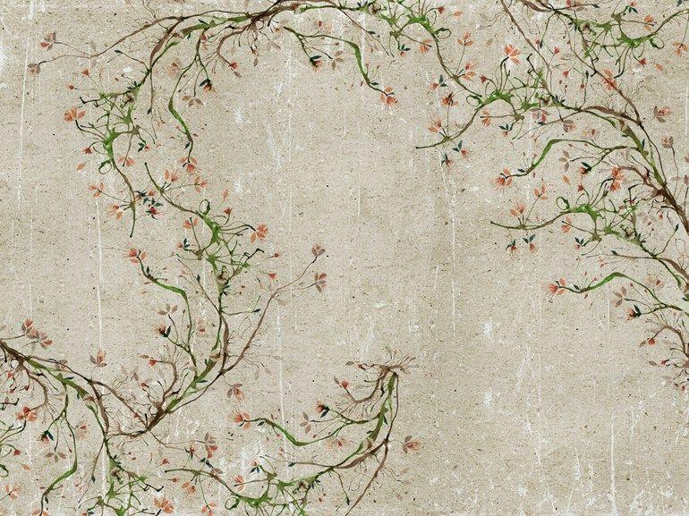 Carta da parati effetto muro con motivi floreali per bagno for Carta da parati adesiva effetto muro