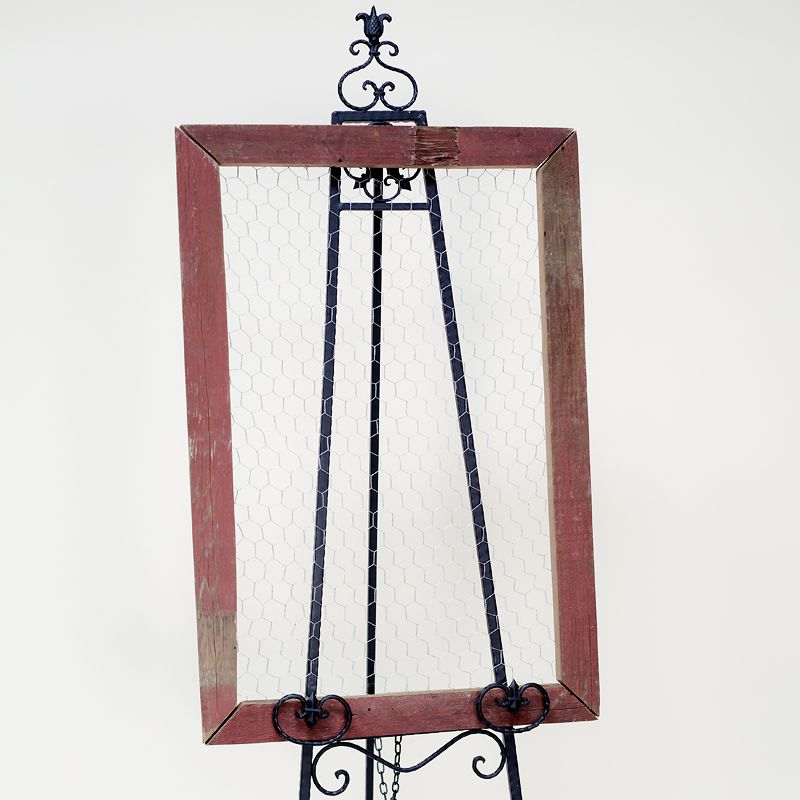 red chicken wire screen: Red chippy painted framed chicken wire ...