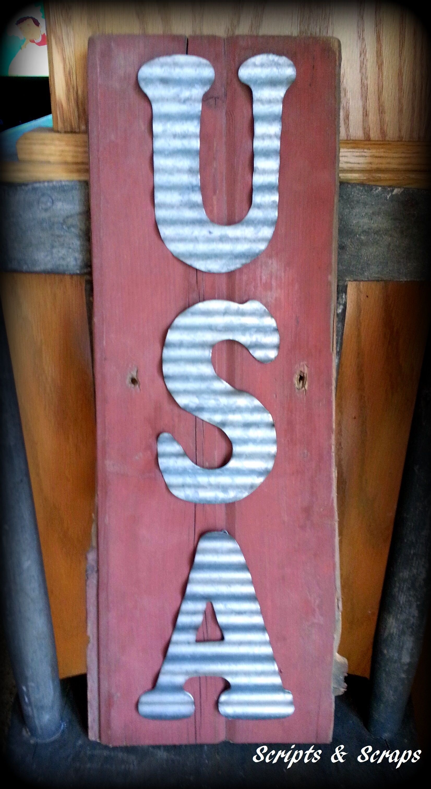 Barn Wood With Corrugated Metal Letters Americana Sheet Metal Crafts Metal Letter Decor Metal Walls Diy