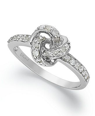 51cd4c42e Diamond Ring, Sterling Silver Diamond Love Knot Ring (1/10 ct. t.w.) - Rings  - Jewelry & Watches - Macy's