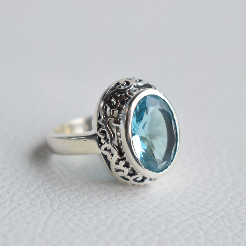 Natural Blue Topaz Ring Handmade Silver Ring-925 Sterling Silver Ring-Blue Topaz Designer Ring-Ring-February Birthstone-Promise Ring