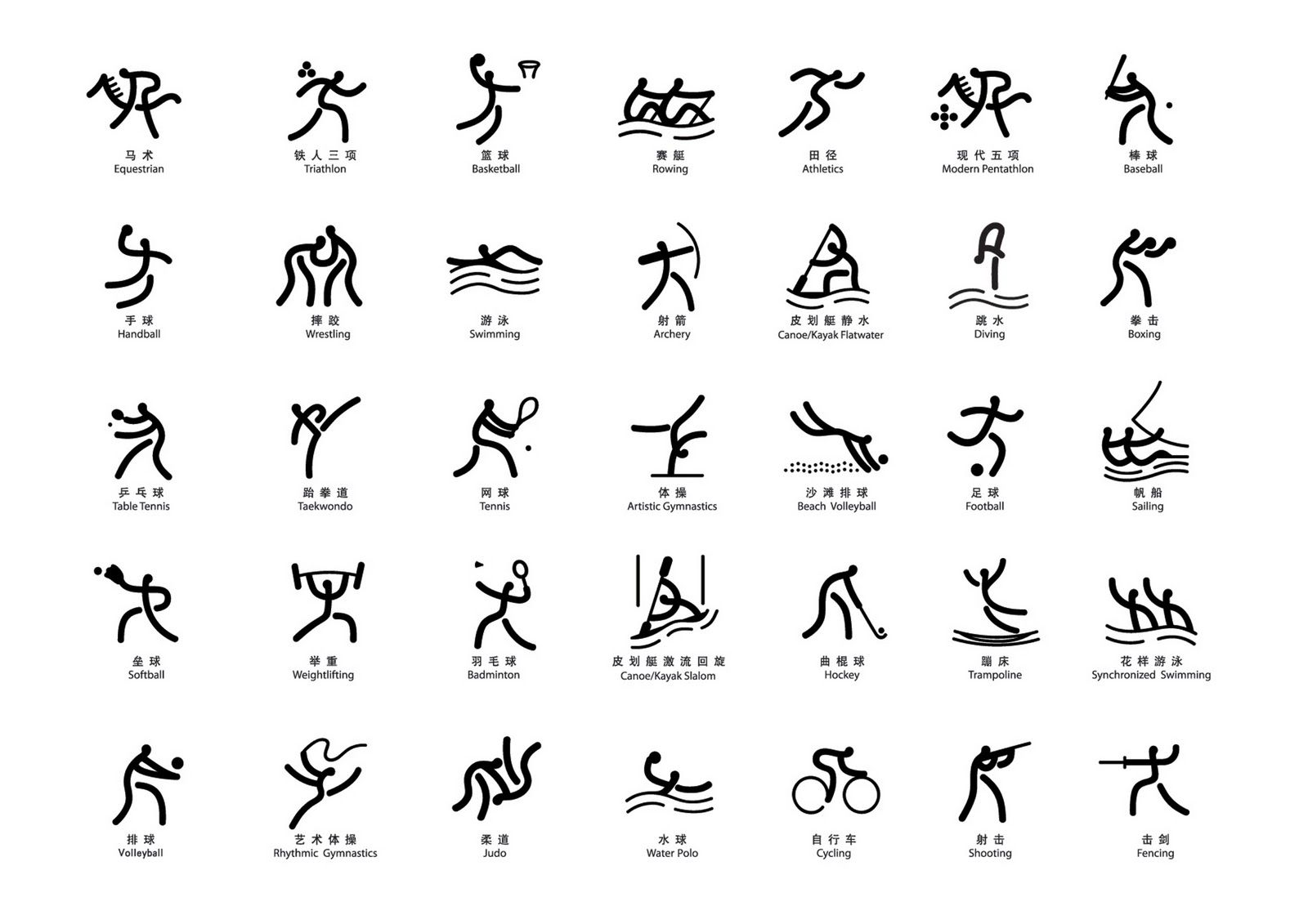 Olympic pictograms beijing icons and olympic icons min wang art director hang hei wang jie design and arcog team and cafa team design pictograms of the beijing 2008 olympic games biocorpaavc Images
