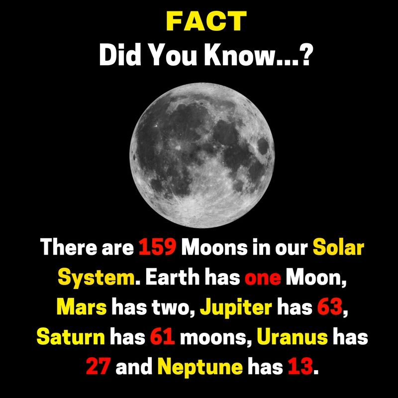 #Fact # #didyouknow There are 159 #moons in our # ...