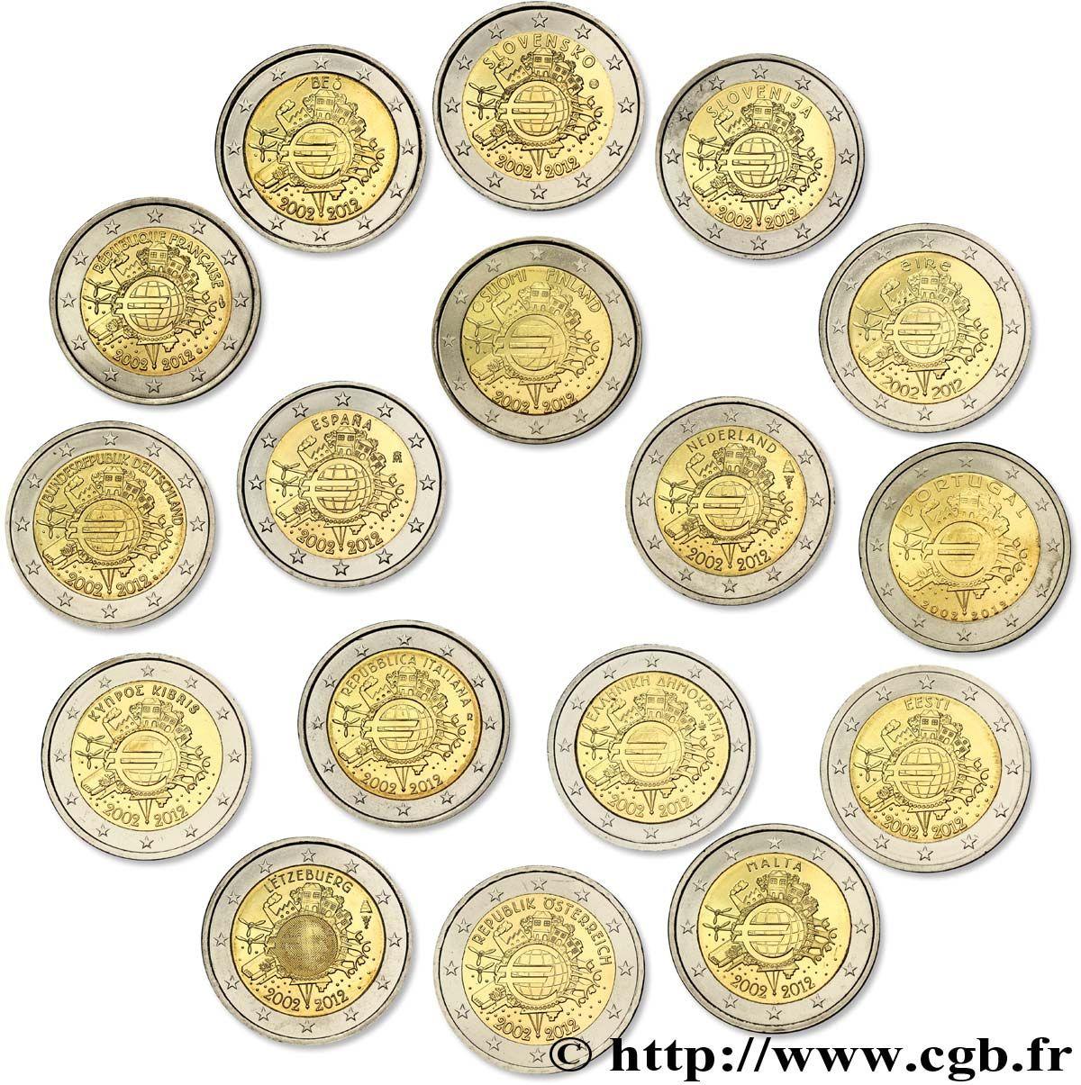 Les 17 Pieces De 2 Euro 10 Ans Des Pieces Et Billets En Euros 2002 2012 Allemagne Autriche Belgique Chypre Espagne Estonie Portugal Espagne Allemagne