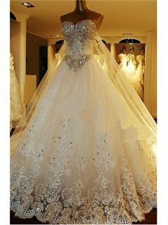 Luxurious A-Line Sweetheart Crystal Appliques Chapel Train Wedding Dress  Unique Wedding Dresses- ericdress.com 10793349 5b589f931a73