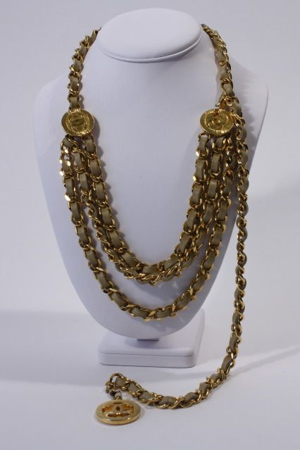 11956c8a456 Iconic Vintage 1984 CHANEL Beige Leather  amp  Gold Chain Belt or Necklace  with CC Medallions