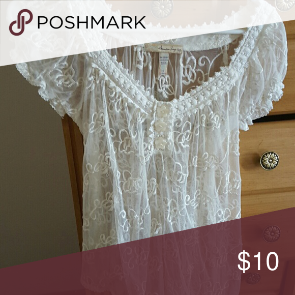 Selling this Lace Blouse on Poshmark! My username is: atina1. #shopmycloset #poshmark #fashion #shopping #style #forsale #American Ray #Tops