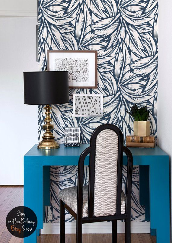 navy blue leaves wallpaper floral wall mural wall. Black Bedroom Furniture Sets. Home Design Ideas