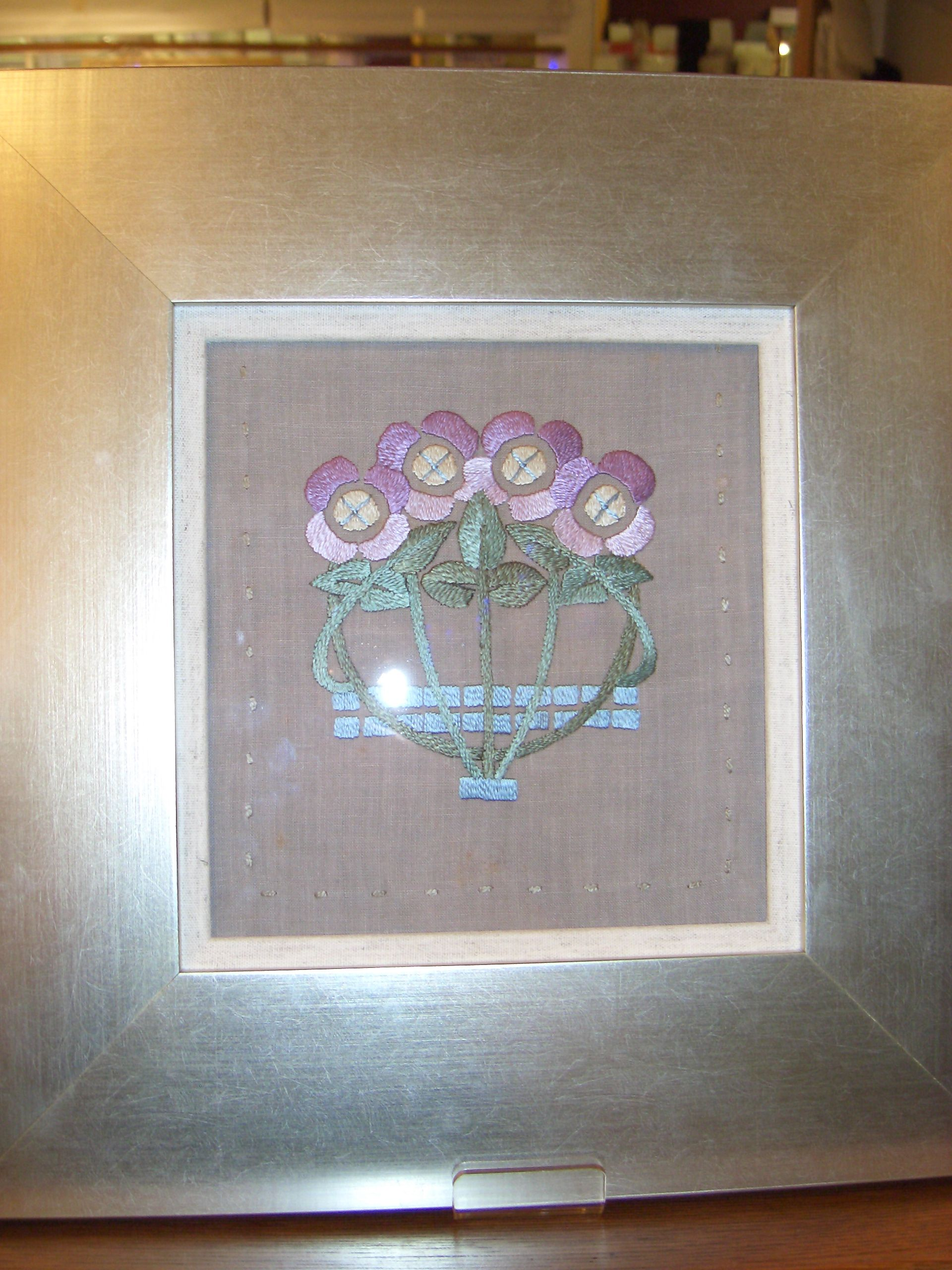 Framed Glasgow Style Embroidered Panel Silks On Unbleached Linen Decorative Boxes Arts Crafts Movement Frame