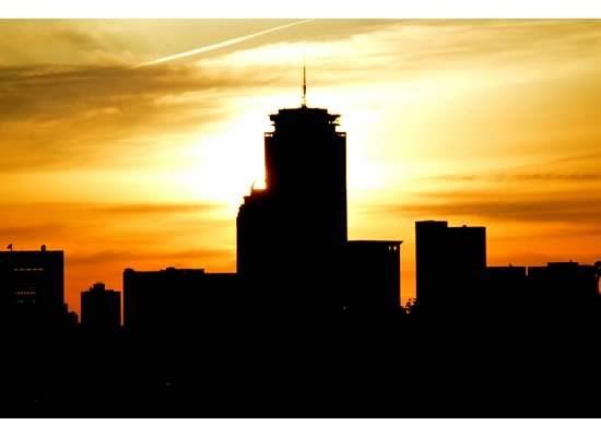 Sunset over Boston Skyline
