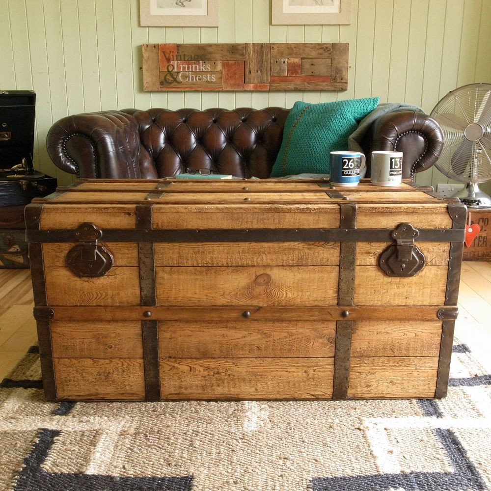 VINTAGE RUSTIC stripped PINE plank TRUNK old BOUND treasure CHEST