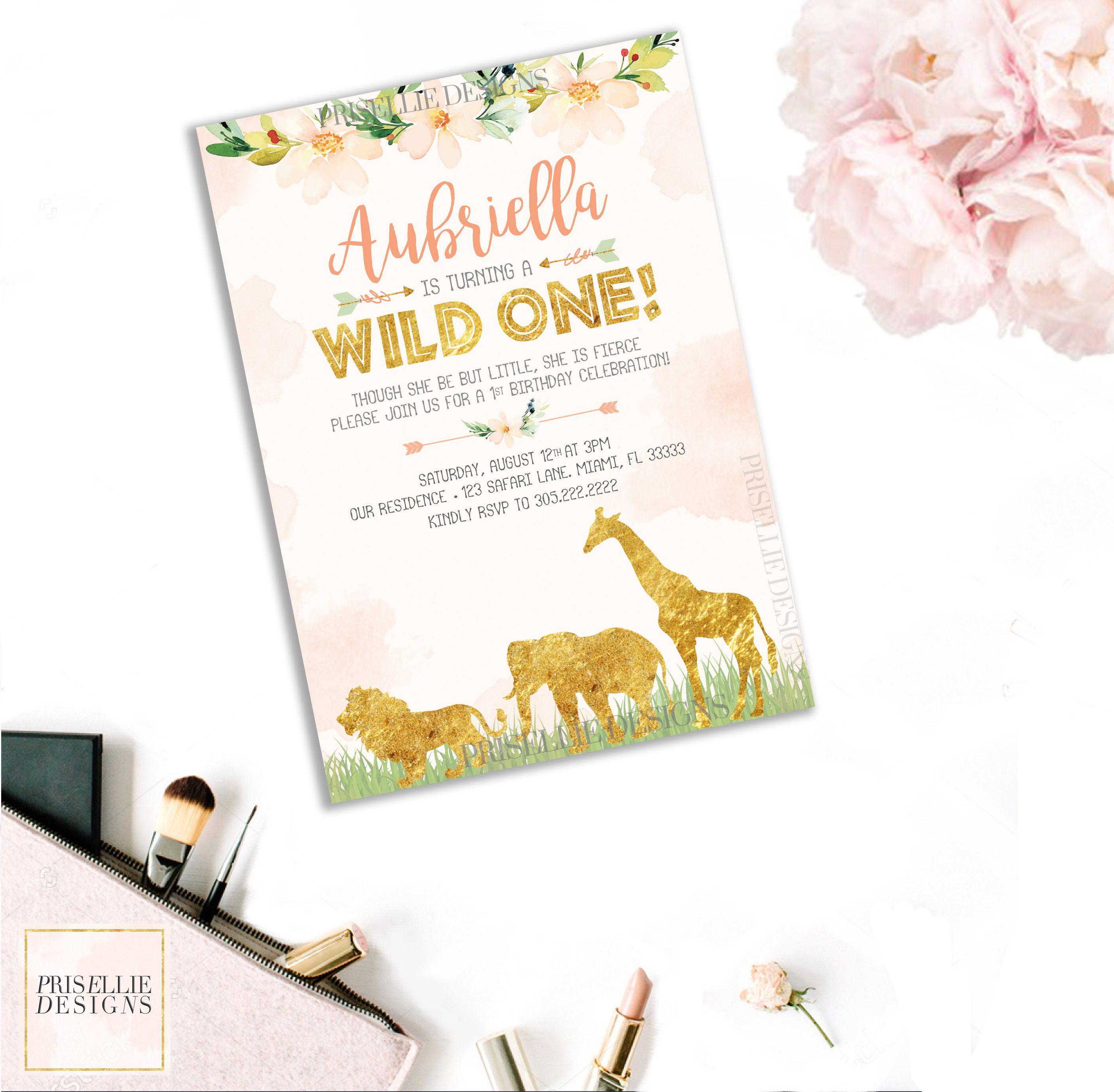 A Wild One Safari Jungle Birthday Invitation, Floral Wild Safari ...