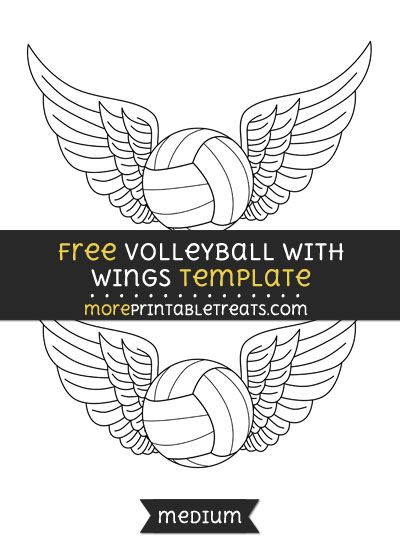 Free Volleyball With Wings Template - Medium | Shapes and Templates ...